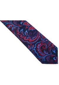 Modini - Granatowy krawat męski we florystyczny wzór C10. Kolor: niebieski. Materiał: tkanina, mikrofibra