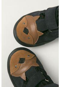 Niebieskie buty zimowe Mrugała z okrągłym noskiem, z cholewką
