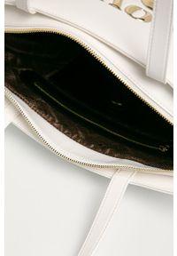 Biała shopperka Love Moschino duża, skórzana, z aplikacjami, na ramię
