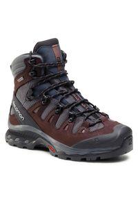 Brązowe buty trekkingowe salomon z aplikacjami, z cholewką