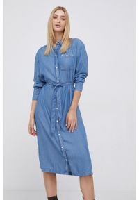 Lee - Sukienka. Okazja: na co dzień. Kolor: niebieski. Materiał: tkanina, jedwab, materiał, lyocell. Długość rękawa: długi rękaw. Typ sukienki: proste. Styl: casual