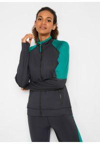 Czarna bluza bonprix długa, z nadrukiem, ze stójką, z długim rękawem