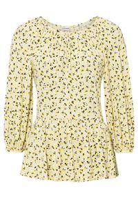 Shirt z rękawami balonowymi z przyjaznej dla środowiska wiskozy bonprix żółty ananasowy w kwiaty. Kolor: żółty. Materiał: wiskoza. Wzór: kwiaty