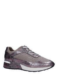 Sergio Leone - Beżowe buty sportowe sneakersy sznurowane z dżetami sergio leone sp005. Kolor: beżowy. Materiał: skóra ekologiczna, materiał. Szerokość cholewki: normalna. Wzór: aplikacja