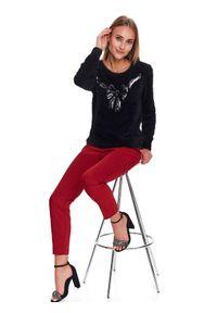 Czarny sweter TOP SECRET z kokardą, z długim rękawem, w kolorowe wzory