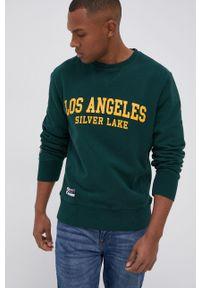 Superdry - Bluza bawełniana. Kolor: zielony. Materiał: bawełna. Wzór: nadruk
