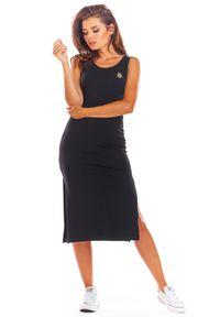 e-margeritka - Sukienka bawełniana na ramiączka czarna - s. Okazja: na co dzień. Kolor: czarny. Materiał: bawełna. Długość rękawa: na ramiączkach. Sezon: lato. Typ sukienki: dopasowane. Styl: wakacyjny, casual. Długość: midi
