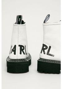 Białe botki Karl Lagerfeld klasyczne, z cholewką