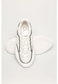 Białe buty sportowe Calvin Klein z okrągłym noskiem, na sznurówki, z cholewką