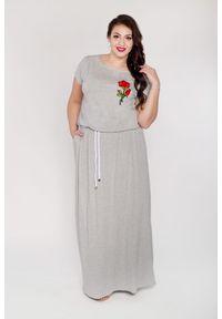 Szara sukienka dla puszystych Moda Size Plus Iwanek na lato, maxi, z aplikacjami
