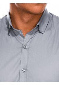 Ombre Clothing - Koszula męska slim z długim rękawem K504 - szara - S. Typ kołnierza: kołnierzyk klasyczny. Kolor: szary. Materiał: elastan, bawełna. Długość rękawa: długi rękaw. Długość: długie. Styl: elegancki, klasyczny