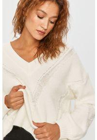 Biały sweter Answear Lab na co dzień, długi, z długim rękawem