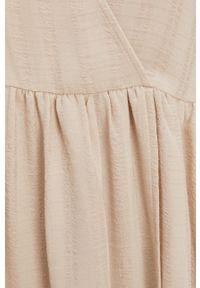 Samsoe & Samsoe - Samsoe Samsoe - Sukienka. Kolor: beżowy. Materiał: tkanina, poliester. Długość rękawa: długi rękaw. Wzór: gładki #4