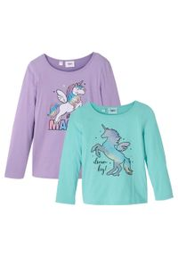 Shirt dziewczęcy z długim rękawem (2 szt.), bawełna organiczna bonprix kolor bzu + morski pastelowy. Kolor: fioletowy. Materiał: bawełna, materiał. Długość rękawa: długi rękaw. Długość: długie. Wzór: nadruk