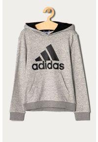 Szara bluza Adidas na co dzień, z kapturem, casualowa