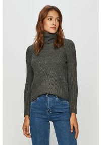Szary sweter only casualowy, na co dzień, z golfem