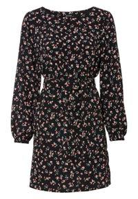 Sukienka w kwiaty bonprix czarno-różowy w kwiaty. Kolor: czarny. Wzór: kwiaty