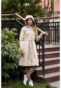 Marie Zélie - Parka Linda bawełna z elastanem beż piaskowy. Kolor: beżowy. Materiał: elastan, bawełna. Długość: długie. Sezon: lato