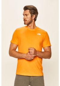 Pomarańczowy t-shirt The North Face na co dzień, z nadrukiem, casualowy