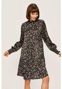 Czarna sukienka Vila casualowa, prosta, ze stójką, w kwiaty