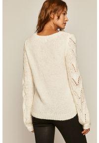 Kremowy sweter medicine długi, casualowy, na co dzień