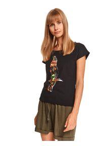 TOP SECRET - T-shirt z nadrukiem i cekinową aplikacją. Kolor: czarny. Wzór: nadruk, aplikacja