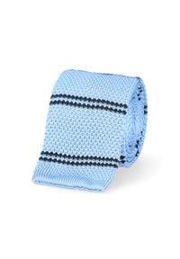 Lancerto - Krawat Dzianinowy Niebieski. Okazja: na co dzień. Kolor: niebieski. Materiał: dzianina. Wzór: paski. Sezon: lato, zima, jesień. Styl: klasyczny, casual