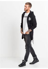 Czarna bluza bonprix z nadrukiem, z kapturem, długa