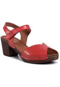 Czerwone sandały Manitu na co dzień, casualowe