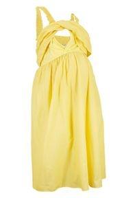Sukienka ciążowa i do karmienia z falbaną bonprix kremowy żółty. Kolekcja: moda ciążowa. Kolor: żółty. Materiał: jersey