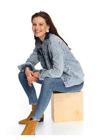 Niebieskie spodnie TOP SECRET z podwyższonym stanem, na wiosnę, w kolorowe wzory, długie