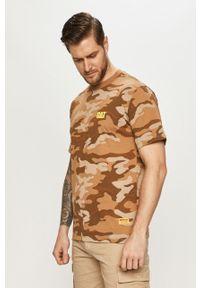 Brązowy t-shirt CATerpillar casualowy, na co dzień