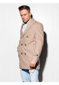 Beżowy płaszcz Ombre Clothing na wiosnę, elegancki