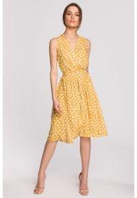 e-margeritka - Sukienka wiskozowa bez rękawów za kolano - m, żółty. Kolor: czarny, żółty. Materiał: wiskoza. Długość rękawa: bez rękawów. Typ sukienki: kopertowe, rozkloszowane