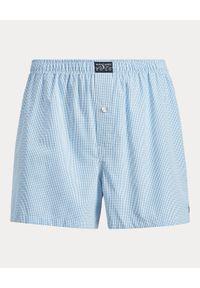 Ralph Lauren - RALPH LAUREN - Niebieskie bokserki w kratę. Kolor: niebieski. Materiał: bawełna. Wzór: napisy, haft, aplikacja