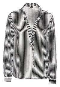Bluzka z krawatką bonprix czarno-biały w paski. Kolor: czarny. Wzór: paski. Styl: klasyczny