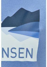 Niebieska bluza Helly Hansen na co dzień, z nadrukiem, z kapturem, casualowa