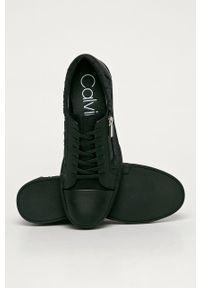 Czarne sneakersy Calvin Klein z okrągłym noskiem, na sznurówki