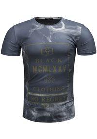Szary t-shirt z nadrukiem Recea casualowy, na co dzień, z krótkim rękawem