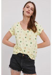 Żółta bluzka Lee Cooper casualowa, z nadrukiem