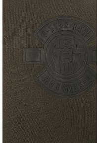 Zielona bluza nierozpinana G-Star RAW z okrągłym kołnierzem, z aplikacjami