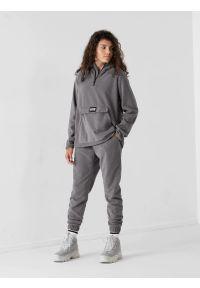 4f - Spodnie z mikropolaru damskie. Kolor: szary. Materiał: dzianina. Sport: snowboard