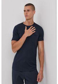 !SOLID - T-shirt bawełniany. Okazja: na co dzień. Kolor: niebieski. Materiał: bawełna. Wzór: gładki. Styl: casual