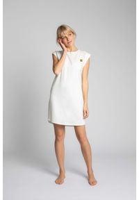 MOE - Sukienka z Bawełny Prążkowanej bez Rękawów - Ecru. Materiał: bawełna, prążkowany. Długość rękawa: bez rękawów