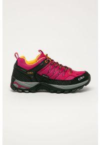 Różowe buty trekkingowe CMP na sznurówki, z okrągłym noskiem, z cholewką