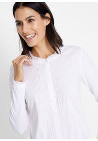 Body koszulowe bonprix biały. Kolor: biały. Materiał: koronka
