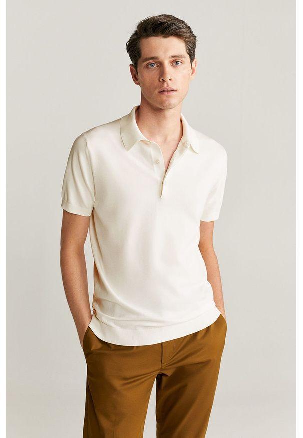 Biała koszulka polo Mango Man casualowa, na co dzień, polo