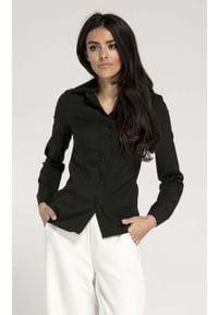 Nommo - Czarna Taliowana Koszula Damska. Kolor: czarny. Materiał: wiskoza, poliester. Wzór: kwiaty