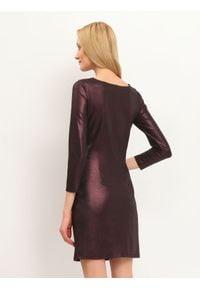 TOP SECRET - Sukienka damska gładka, kolorowa. Okazja: na imprezę. Kolor: fioletowy. Materiał: tkanina. Wzór: kolorowy, gładki. Sezon: zima, jesień