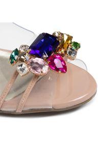 Różowe sandały Sca'viola na obcasie, z aplikacjami, na średnim obcasie